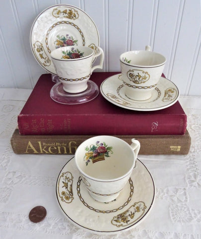 Set 3 Birds Spode Copeland Demi Cups And Saucers Birds Creamware 1918 Edwardian Flower Basket