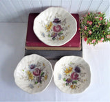 Set 3 Bowls Johnson Brothers Sheraton Floral Polychrome 1940s Squared Cereal