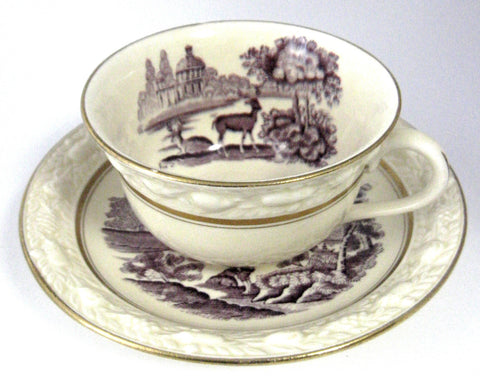 Purple Transferware Cup And Saucer Adams Italian Scenery 1920s Landscape Ironstone