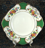 Edwardian Cake Plate Georgian Green Floral Lugged Sandwich Server 1900-1910 Allertons