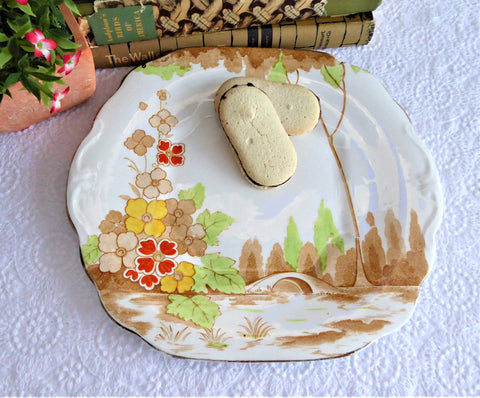 Art Deco Brown Transferware Cake Plate Landscape Serving Plate Sandwich 1920s
