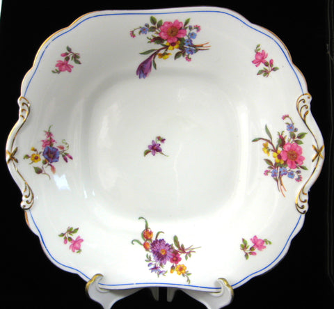 Aynsley Cake Plate Floral Tab Handle Antique England 1920s Floral Sandwich Server