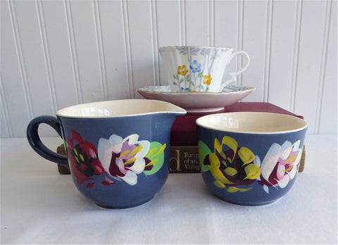 Cream And Sugar Blue Hand Painted Floral England Biltons 1920s English Pottery