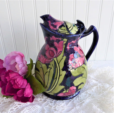 Charlotte Rhead Teapot Cosy Pot Dripless Seed Poppy Tubelined 1920s Pink Cobalt Green Rare