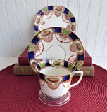 English Imari Cup Saucer Plate Staffordshire Doric Vintage 1920s Downton Style