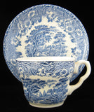 Blue Transferware Cup And Saucer 1920s Ironstone Rural England Scene EIT