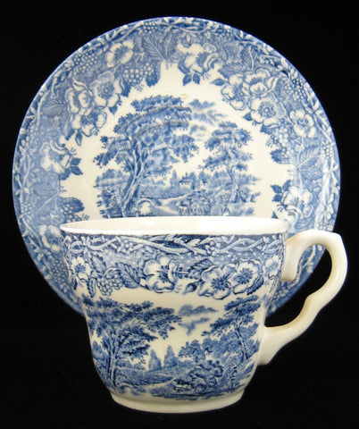 Blue Transferware Cup And Saucer 1920s Ironstone Rural England Scene ...
