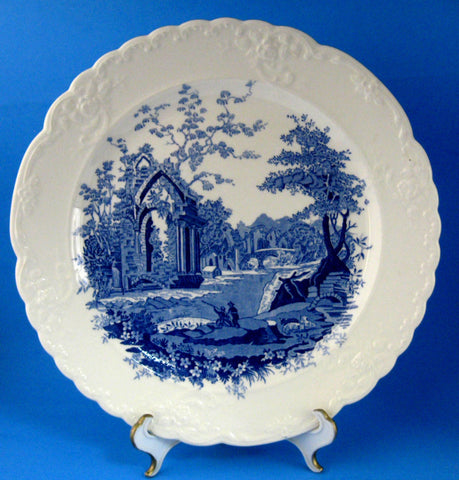 Blue Transferware Dinner Plate English Abbey Taylor Smith And Taylor 1920s