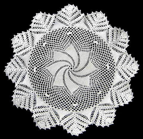 Doily English Thread Crochet Swirled Star Hand Made 1920s