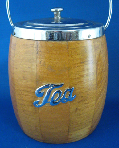 English Tea Caddy Vintage Oak Barrel Porcelain Liner 1940s TEA on Chrome
