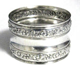 English Napkin Ring Silver Plate Floral Repousse Border 1940s Tea Party