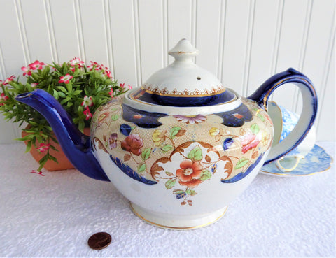 Imari Teapot 1920s Hancock UK Beatrice Large Cobalt Blue Hand Colored Transfer