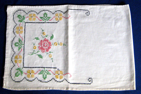 Long Embroidered Dresser Scarf 1920s Linen 40 Inches Cross Stitch Roses Runner Vanity Item