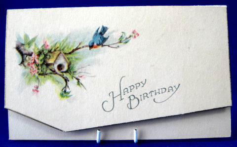 Happy Birthday Card 1920s Bird Birdhouse Poem Antique Greeting Ephemera Gift Card