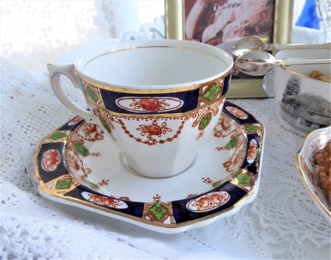 Imperial Derby Imari Cup And Saucer Cobalt Rust T Hughes England 1920s