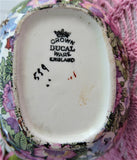 Ivory Chintz Creamer Cream Jug 1920s Flowers Birds Black Bands Crown Ducal