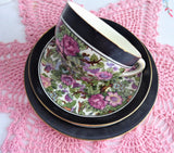 Ivory Chintz Cup And Saucer With Plate 1920s Flowers Birds Black Bands Crown Ducal