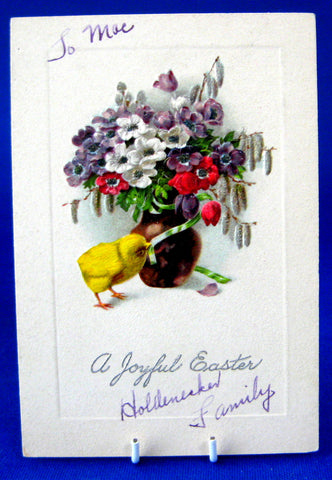1920s A Joyful Easter Embossed Gift Card Tag Chick Flower Bouquet Ephemera