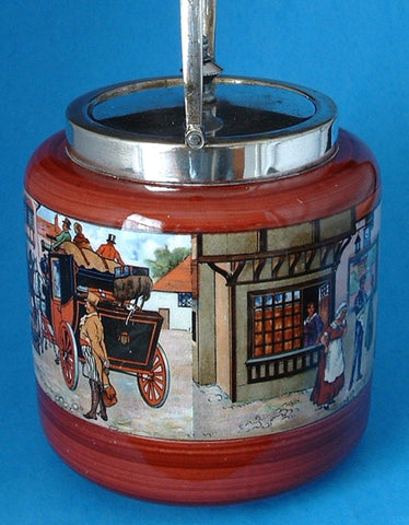 Victorian Coaching Scene Biscuit Barrel Antique Red 1920s Cookie Jar