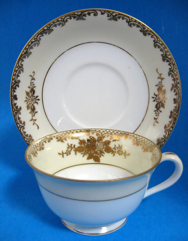 Noritake 1920s Cup And Saucer Encrusted Gold On Cream And White