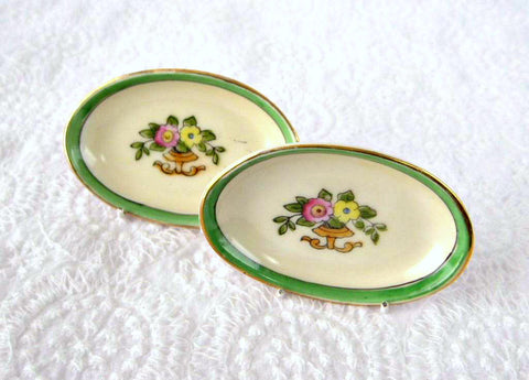 Pair Noritake Japan Open Salts 2 Salt Dips Hand Painted Oval Floral 1920s Art Deco