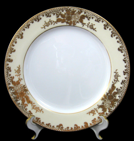 Noritake Salad Plate Set Of 4 Early Floral Heavy Encrusted Gold On Cream And White