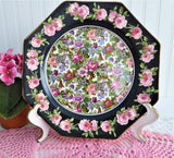 Roseland Chintz Octagon Lunch Plate 1930s Roses Black Bands Flowers Birds Crown Ducal