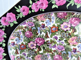 Roseland Chintz Platter 11 Inches 1930s Roses Black Bands Flowers Birds Crown Ducal
