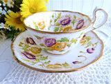 Antique Royal Albert Cup and Saucer 1920s Hand Colored Floral Transferware