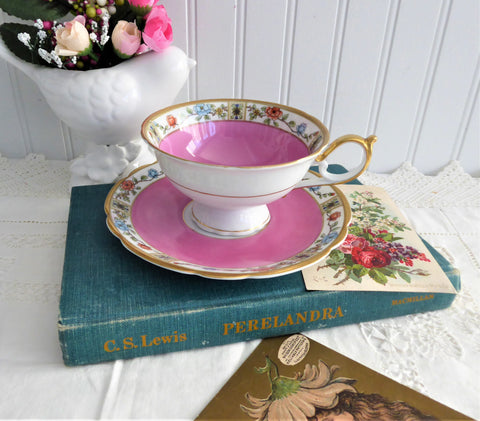 Hot Pink Cup And Saucer Bayreuther Floral Borders 1920s Royal Bayreuth Bavaria