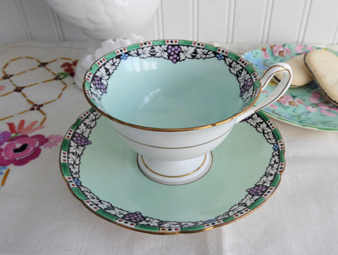 Art Deco Shelley Cup and Saucer Rare Borgfeldt Aqua Enamels  GrapesGainsborough 1920s