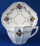 Shelley Fruit And Diamonds Queen Anne Cup And Saucer Paneled Art Deco Shows Wear