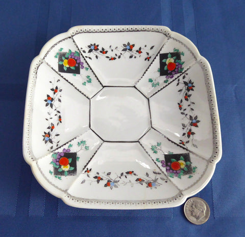 Saucer Only Shelley Fruit And Diamonds Queen Anne Square Paneled Art Deco 1912