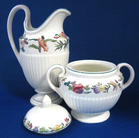 Wedgwood Floral Cream Jug And Sugar Edme Wildflowers 1920s Large Queens Ware