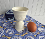 Wedgwood Patrician Eggcups 2 Double White Embossed Queen's Ware 1920s
