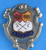 Tea Caddy Spoon Souvenir Wrexham England Tea Scoop Enamel Finial 1920s
