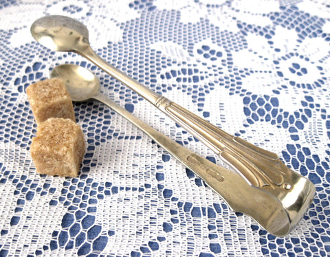 Sugar Tongs Spoon Ends Classical Fan 1920s England EPNS Silver Plate