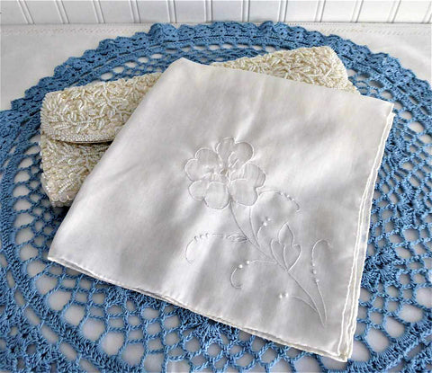Vintage Handkerchief Hand Embroidered Floral White Hand Made Rolled Hems Hanky