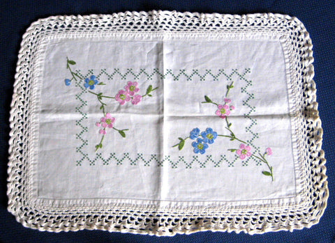 Hand Embroidered Centerpiece Vanity Doily 1920s Cross Stitch Flowers Vanity Item Tea Tray