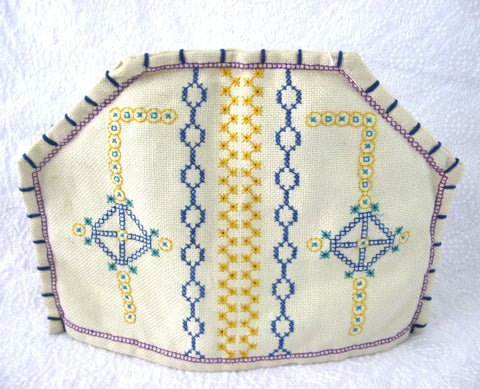 English Tea Cozy Art Deco Cross Stitch 1920s Geometric Hand Made Tea Cosy