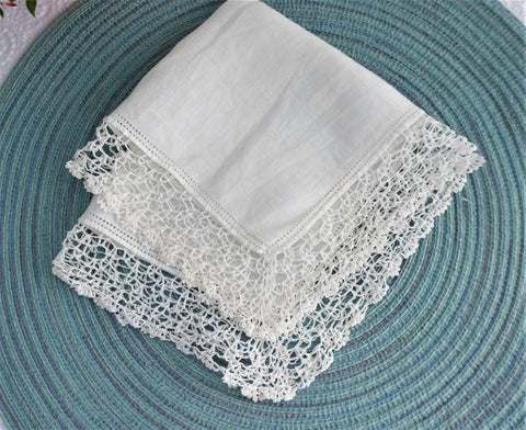 White Irish Linen Handkerchief 1920s Hand Made Thread Lace Trim Hanky