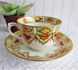Cup And Saucer Lime Green Gold Taylor And Kent 1920s Hand Painted England