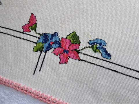 Cross Stitch Placemat Art Deco Floral 1930s Table Mat Violets Table Linen