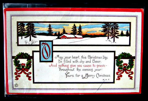 Postcard Christmas Greeting 1921 Snow Scene Wreath Snow May Your Heart