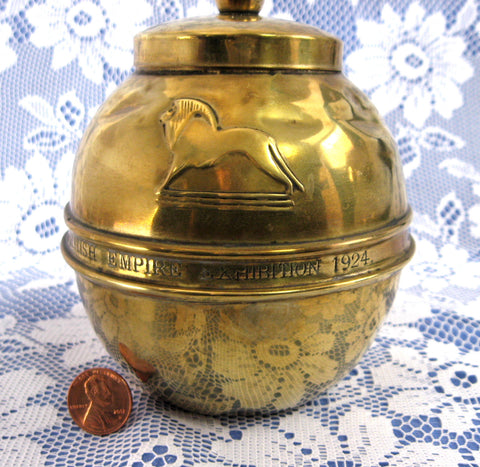 English Tea Tin 1924 British Empire Lipton Art Deco Brass Tea Canister