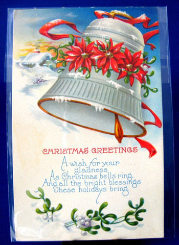 Postcard Christmas Greetings 1929 Bell Poinsettias Snow Poem Divided Back