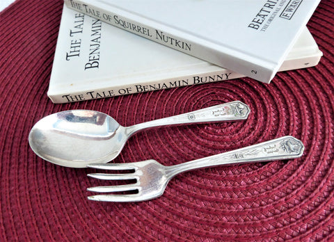 Rogers Silver Apollo 1929 Childs Spoon And Fork Silverplate Toddler Baby Mono B