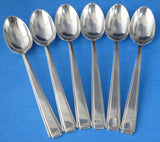 Art Deco Sterling Silver Spoons Set Of 6 Hallmarked Sheffield 1938 England Coffee Tea
