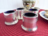 English Open Salts Cobalt Blue Glass Liners Silver Plate Set Of Four Art Deco 1920-1930s