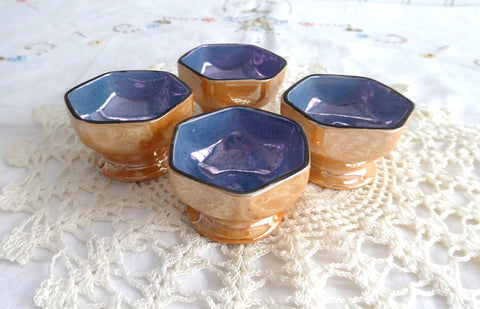 Japanese Luster Open Salts Art Deco Set of 4 Vintage 1930s Pedestal Blue Gold